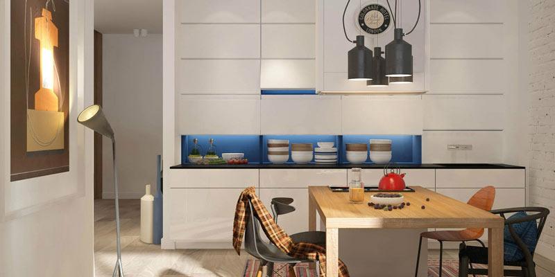 文艺北欧风 蓝白厨房装饰图