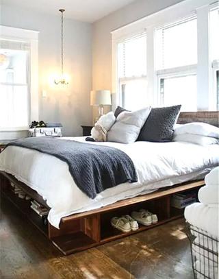 实用卧室收纳床装潢图片