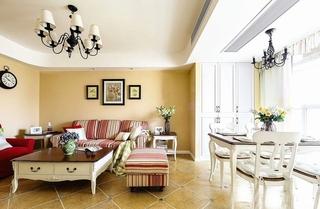 100平美式田园两居室客厅效果图