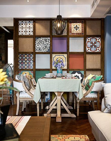 复古东南亚风情餐厅博古架装饰
