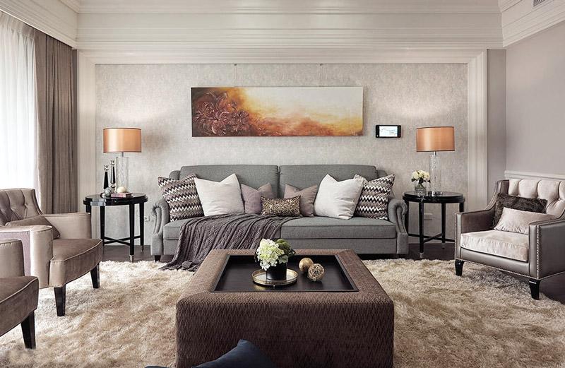 艺术美式客厅照片墙效果图