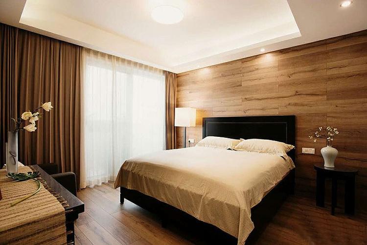 自然宜家风卧室 原木背景墙欣赏