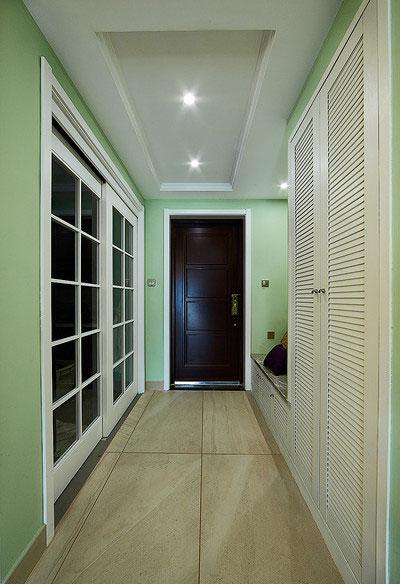 清新浅绿色 美式混搭风玄关设计