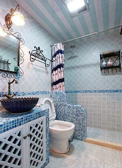 蓝色系卫生间装修装饰效果图