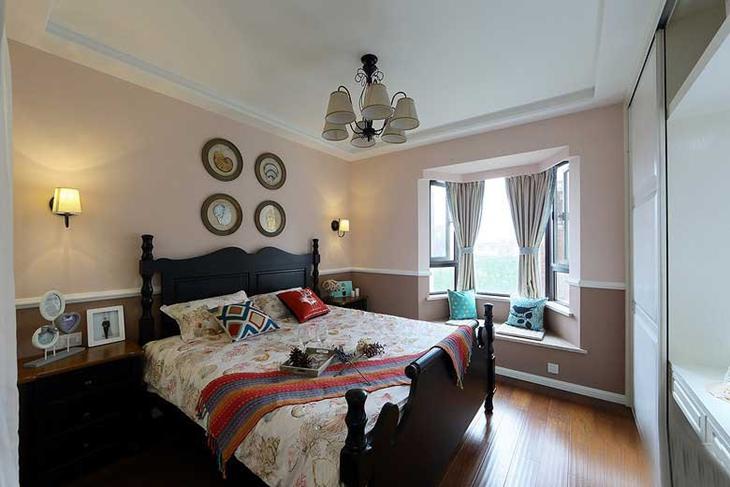 裸粉色美式新古典卧室效果图