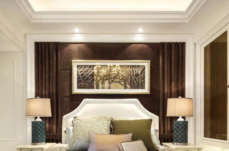85平欧式风格两居室卧室背景墙装饰画