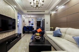 130平简欧风格装修客厅效果图