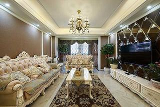 110平两居欧式风格装修客厅效果图