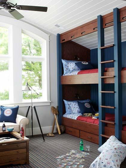 儿童房高低床装修装饰效果图