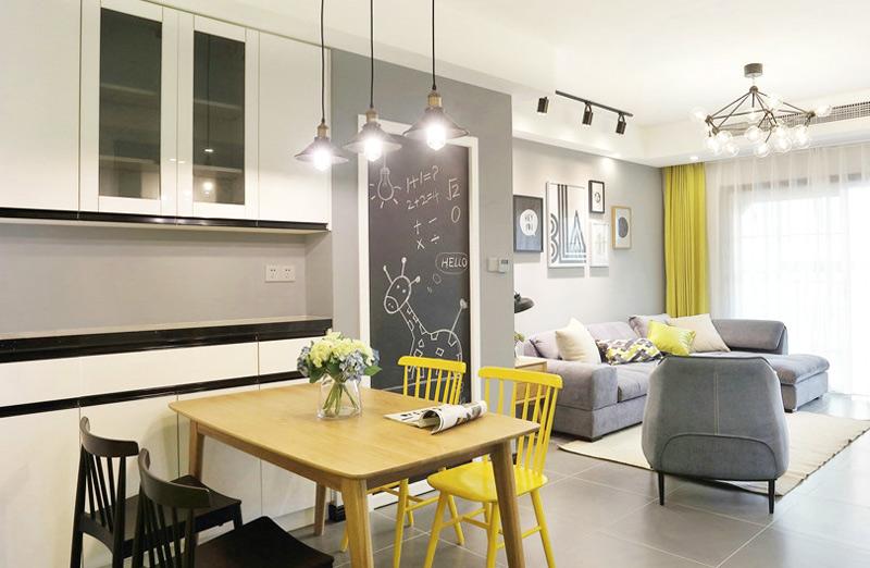 85平北欧现代两居室餐厅吊灯效果图