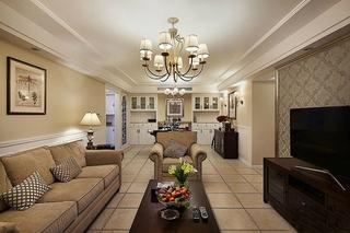 130平低调简欧风格装修客厅效果图