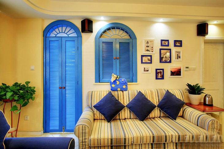 85平清新地中海风格装修地中海客厅