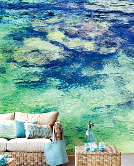 清新客厅沙发背景墙壁纸设计
