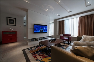 120平温馨阁楼混搭风格装修客厅效果图