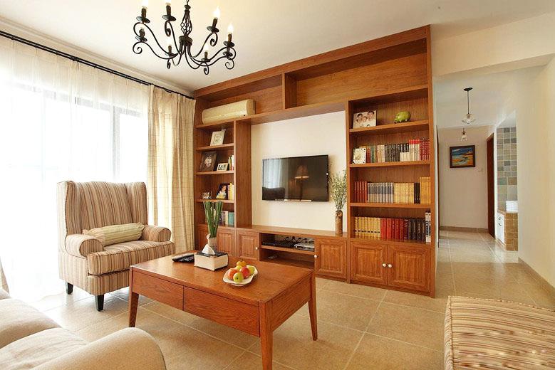 温馨中式客厅 实木电视柜设计