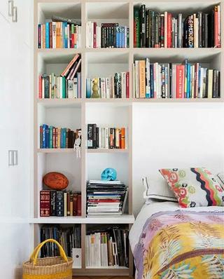 简约卧室书架背景墙装修效果图