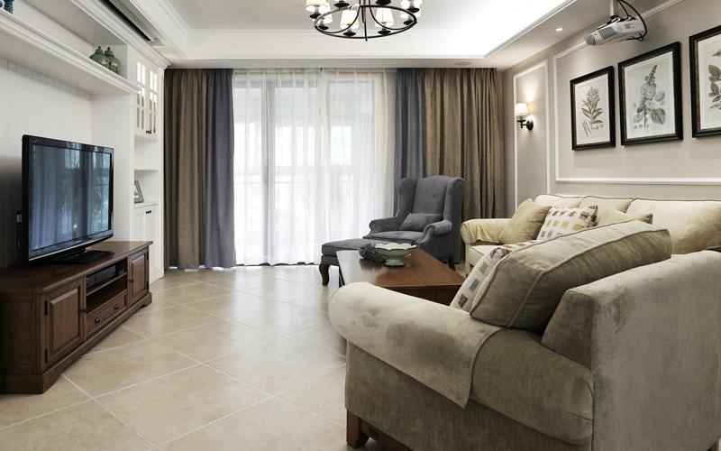 现代美式风格三居室客厅遮光窗帘图片