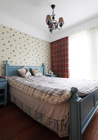 经典美式田园风卧室 格子软撘设计