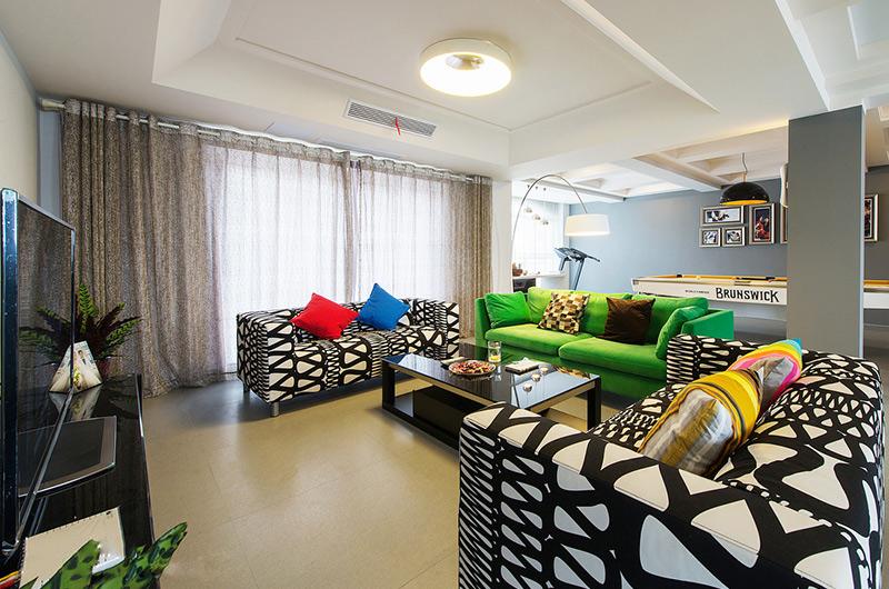 时尚现代波普风混搭客厅效果图