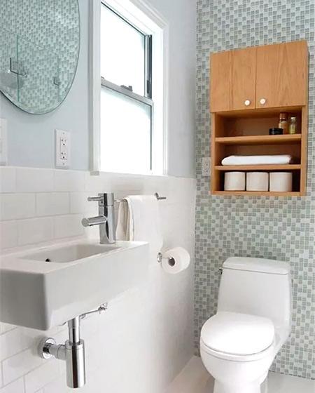 小户型卫生间墙面收纳柜效果图