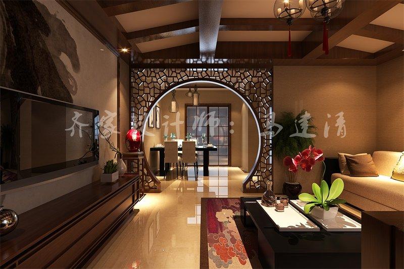 5-10万120平米中式三居室装修效果图,万达国际三室图图片