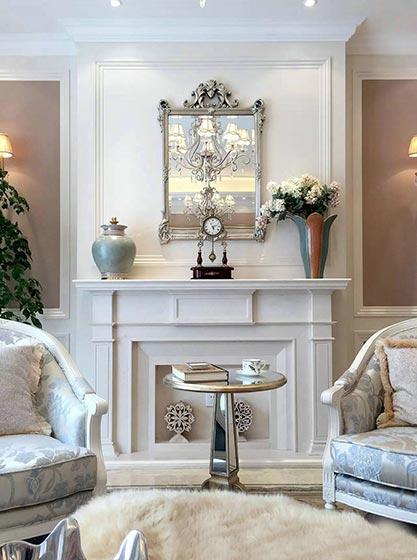 华丽古典法式别墅 客厅壁炉效果图