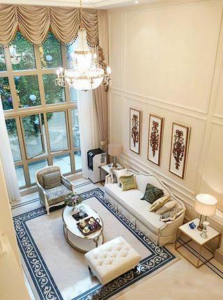 优雅古典法式 挑高客厅俯视图