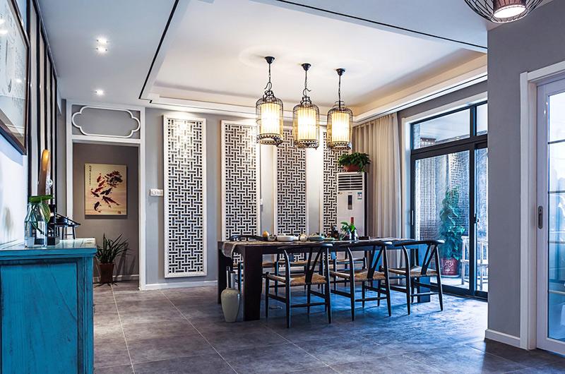 高端新中式餐厅 镂空背景墙设计
