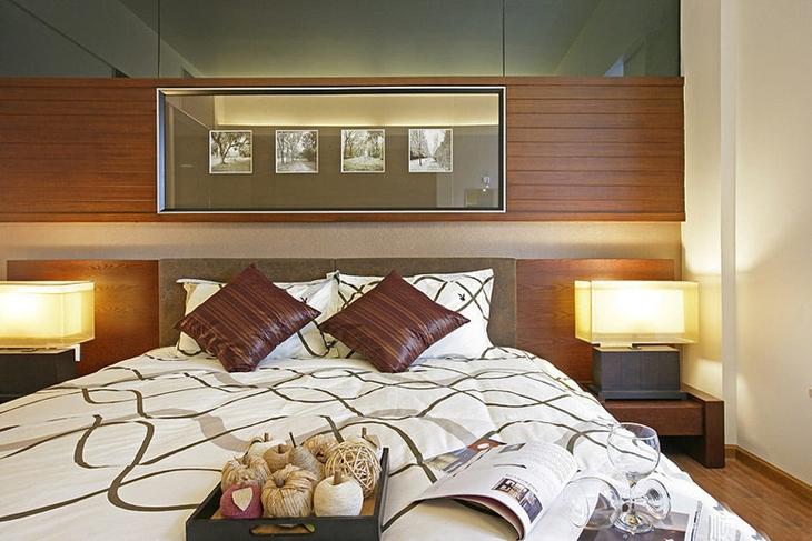 典雅新中式次卧背景墙设计