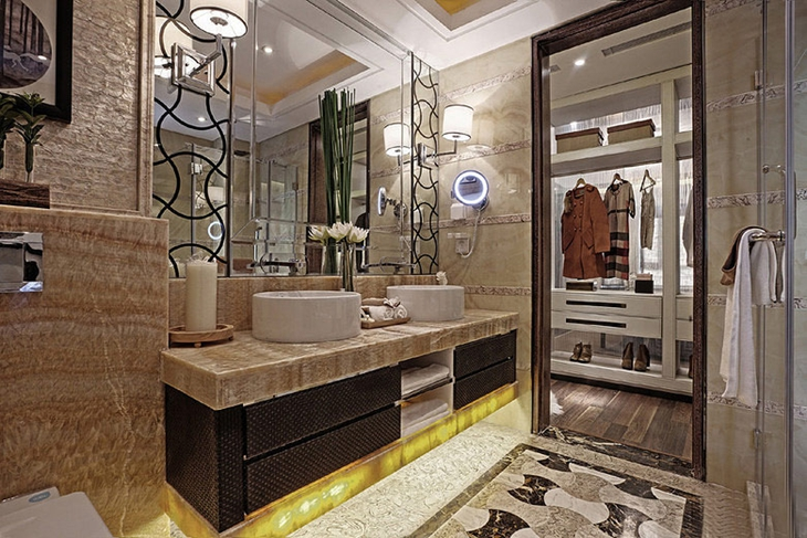 豪华典雅中式 卫生间洗手台效果图