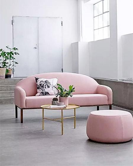 玫瑰金色客厅装潢效果图