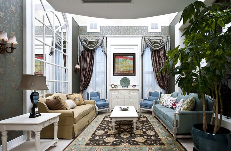 古典混搭风挑高客厅效果图