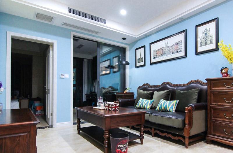 蓝色调乡村美式客厅效果图