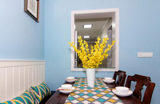 60平美式风格两室两厅餐厅效果图