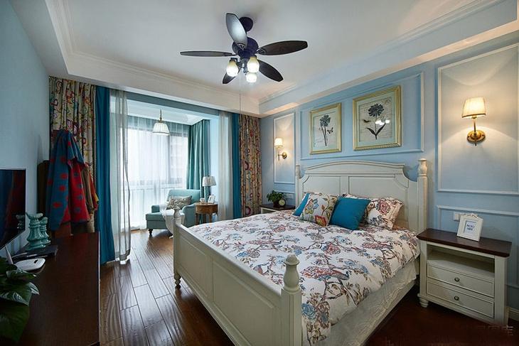浪漫蓝色调美式风卧室设计