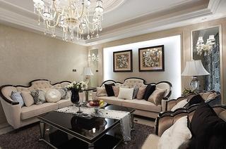 50万打造奢华新古典风格装修客厅效果图