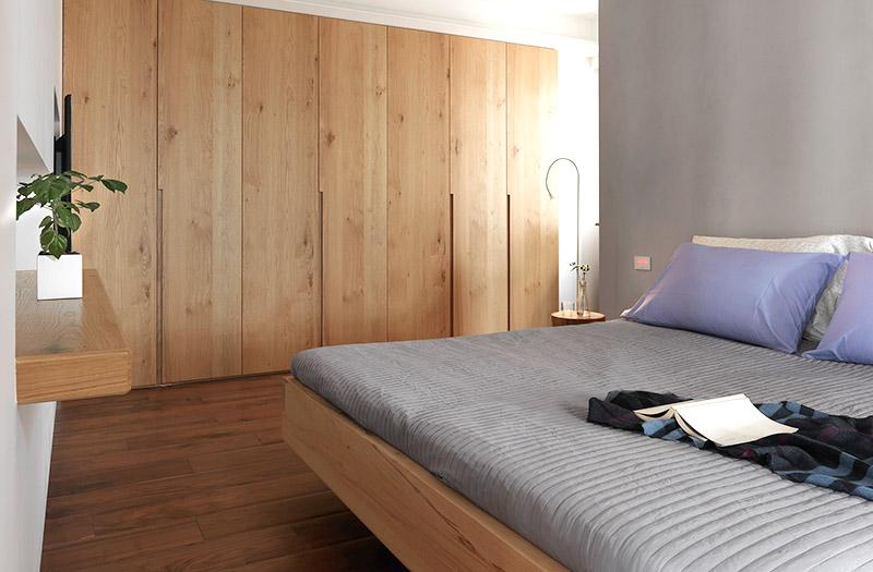 温馨极简主义卧室 原木衣柜设计图