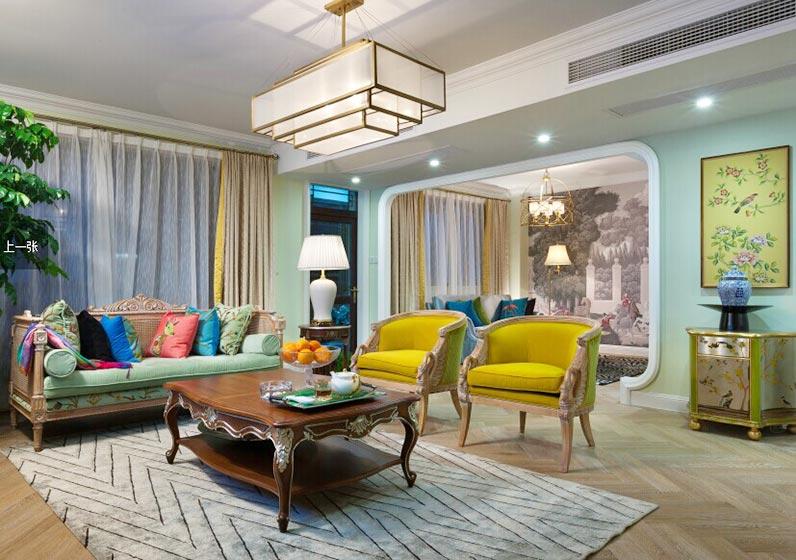 梦幻美式新古典客厅隔断设计