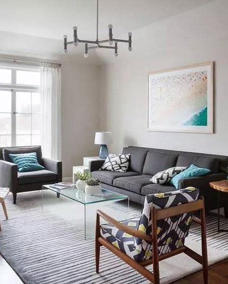 沉稳灰色客厅沙发设计图