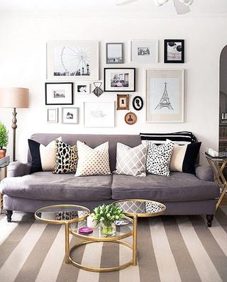 北欧风格客厅双人沙发装潢图