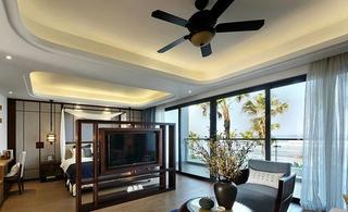 98平地中海混搭风格装修卧室客厅一体