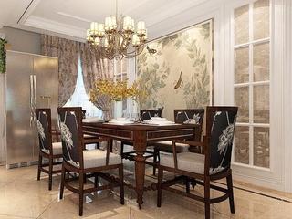 130平美式风格装修餐厅图片大全