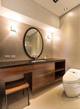 宜家美式风卫生间实木洗手台效果图