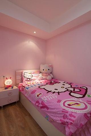 甜美粉色系简约风儿童房设计