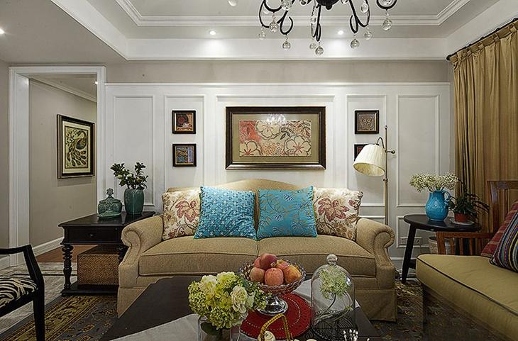 140平美式风格装修美式客厅图-装修效果图案例 2018年装修效果图 齐