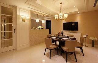 优雅裸色调美式餐厅装饰设计
