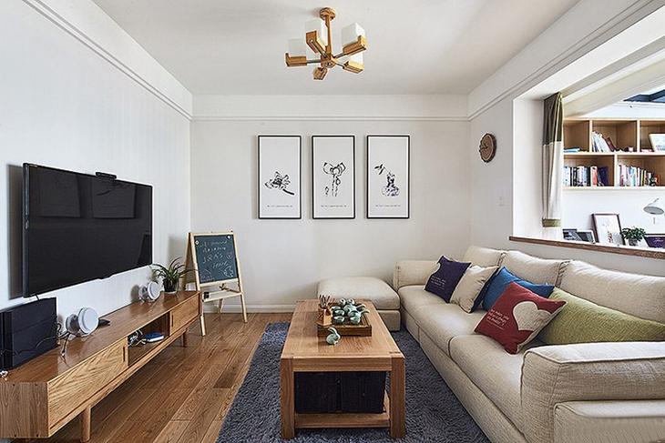 清新舒适简约风格装修客厅效果图