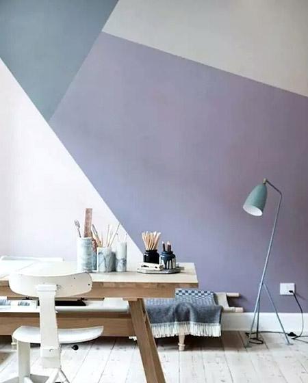 餐厅几何图案背景墙设计