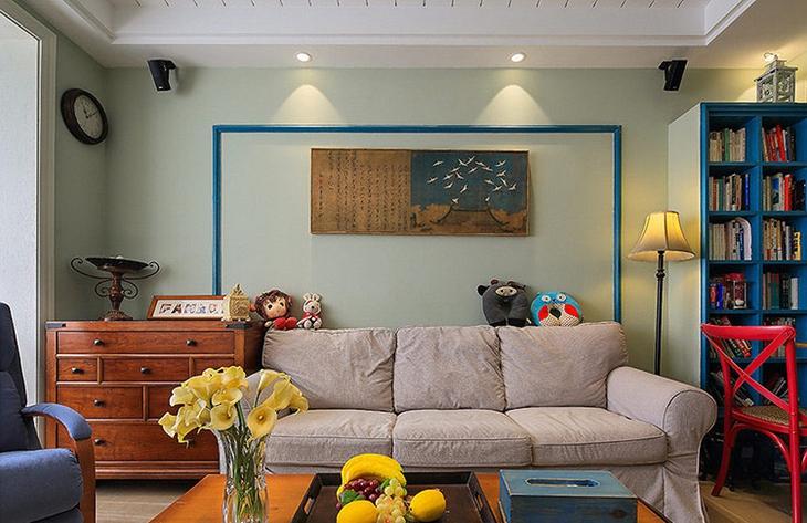 美式乡村风格装修沙发背景墙效果图图片