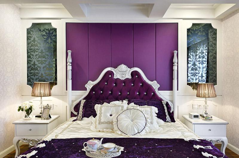 高端欧式新古典 主卧室软包背景墙设计